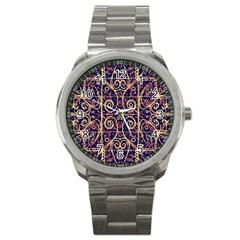 Tribal Ornate Pattern Sport Metal Watch