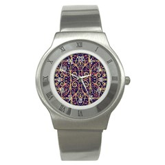 Tribal Ornate Pattern Stainless Steel Watch