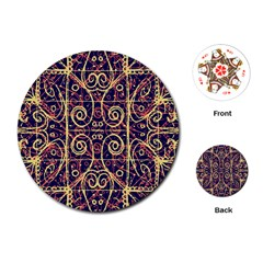 Tribal Ornate Pattern Playing Cards (Round)