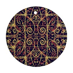 Tribal Ornate Pattern Round Ornament (two Sides)