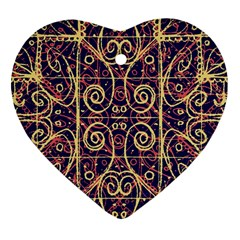 Tribal Ornate Pattern Heart Ornament (Two Sides)