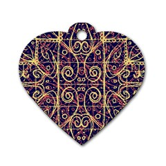 Tribal Ornate Pattern Dog Tag Heart (Two Sides)