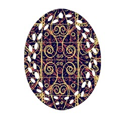 Tribal Ornate Pattern Oval Filigree Ornament (Two Sides)