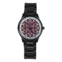 Tribal Ornate Pattern Stainless Steel Round Watch