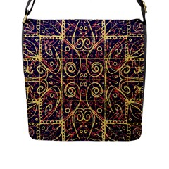 Tribal Ornate Pattern Flap Messenger Bag (L)