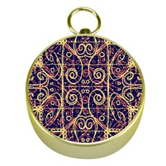 Tribal Ornate Pattern Gold Compasses