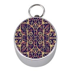Tribal Ornate Pattern Mini Silver Compasses