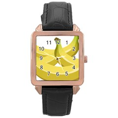 Banana Rose Gold Leather Watch