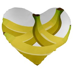 Banana Large 19  Premium Flano Heart Shape Cushions