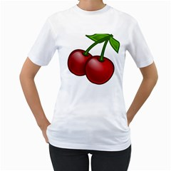 Cherries Women s T-Shirt (White) (Two Sided)