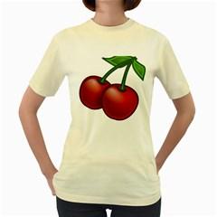Cherries Women s Yellow T-Shirt