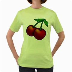 Cherries Women s Green T-Shirt