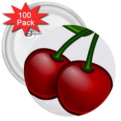 Cherries 3  Buttons (100 pack)