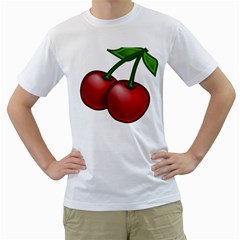 Cherries Men s T-Shirt (White) (Two Sided)