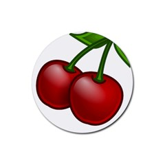Cherries Rubber Round Coaster (4 pack)