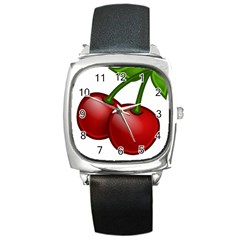Cherries Square Metal Watch