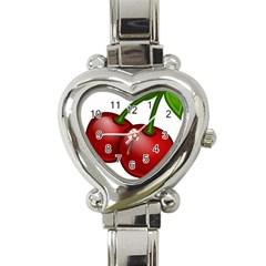 Cherries Heart Italian Charm Watch