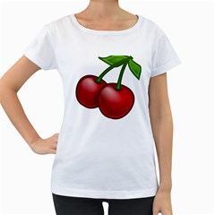 Cherries Women s Loose-Fit T-Shirt (White)
