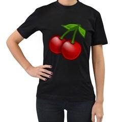 Cherries Women s T-Shirt (Black)