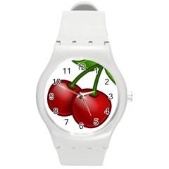 Cherries Round Plastic Sport Watch (M)