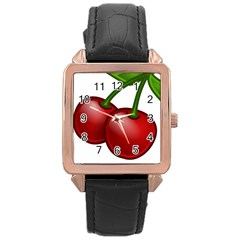Cherries Rose Gold Leather Watch