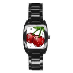 Cherries Stainless Steel Barrel Watch