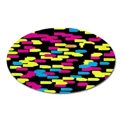 Colorful Strokes On A Black Background             Magnet (oval)