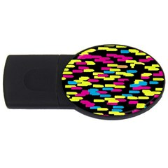Colorful strokes on a black background             USB Flash Drive Oval (2 GB)