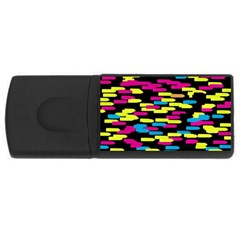 Colorful strokes on a black background             USB Flash Drive Rectangular (1 GB)