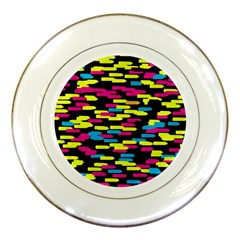 Colorful strokes on a black background             Porcelain Plate