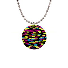 Colorful strokes on a black background             1  Button Necklace