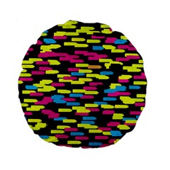 Colorful strokes on a black background       Standard 15  Premium Flano Round Cushion