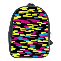 Colorful strokes on a black background             School Bag (Large)