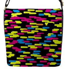 Colorful strokes on a black background             Flap Closure Messenger Bag (S)