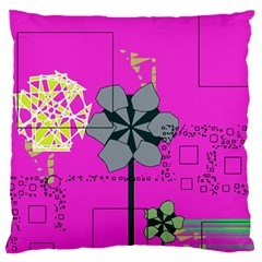 Flowers and squares        Standard Flano Cushion Case (Two Sides)