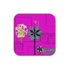 Flowers And Squares              Rubber Square Coaster (4 Pack
