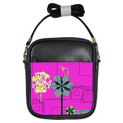 Flowers and squares              Girls Sling Bag