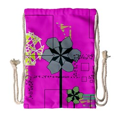 Flowers and squares              Large Drawstring Bag