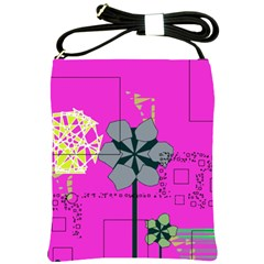 Flowers and squares              Shoulder Sling Bag