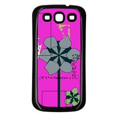Flowers and squares        Samsung Galaxy S3 Back Case (White)