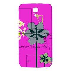Flowers and squares        Samsung Galaxy Note 4 PU Leather Hardshell Back Case