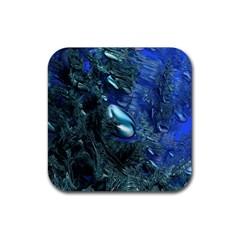 Shiny Blue Pebbles Rubber Square Coaster (4 pack)