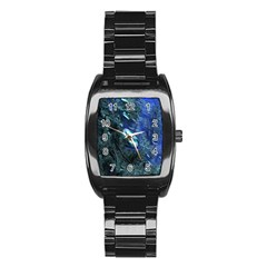 Shiny Blue Pebbles Stainless Steel Barrel Watch