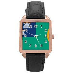 City of Dublin Fag  Rose Gold Leather Watch
