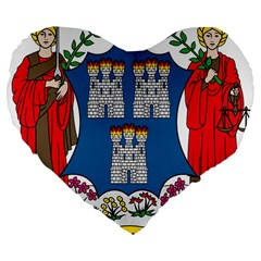 City of Dublin Coat of Arms  Large 19  Premium Flano Heart Shape Cushions