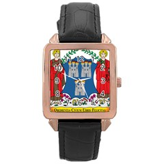City of Dublin Coat of Arms Rose Gold Leather Watch