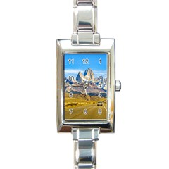 Snowy Andes Mountains, El Chalten, Argentina Rectangle Italian Charm Watch