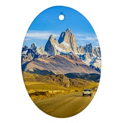 Snowy Andes Mountains, El Chalten, Argentina Ornament (Oval)
