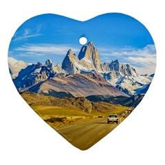 Snowy Andes Mountains, El Chalten, Argentina Ornament (Heart)