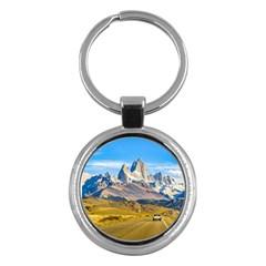 Snowy Andes Mountains, El Chalten, Argentina Key Chains (Round)